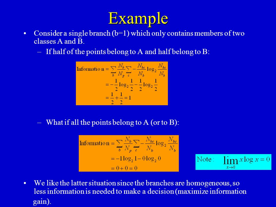 Example Consider a single branch (b=1) which only contains members of two classes A and B. –If half of the points belong to A and half belong to B: –W
