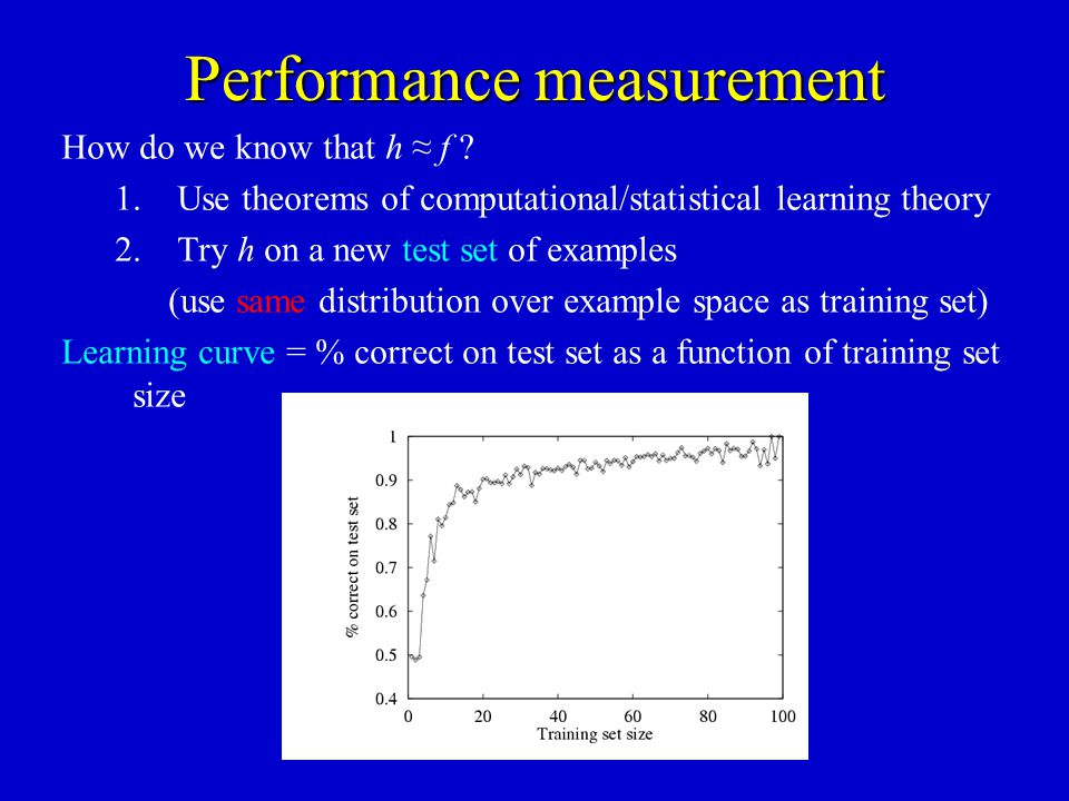 Performance measurement How do we know that h f ? 1.Use theorems of computational/statistical learning theory 2.Try h on a new test set of examples (u