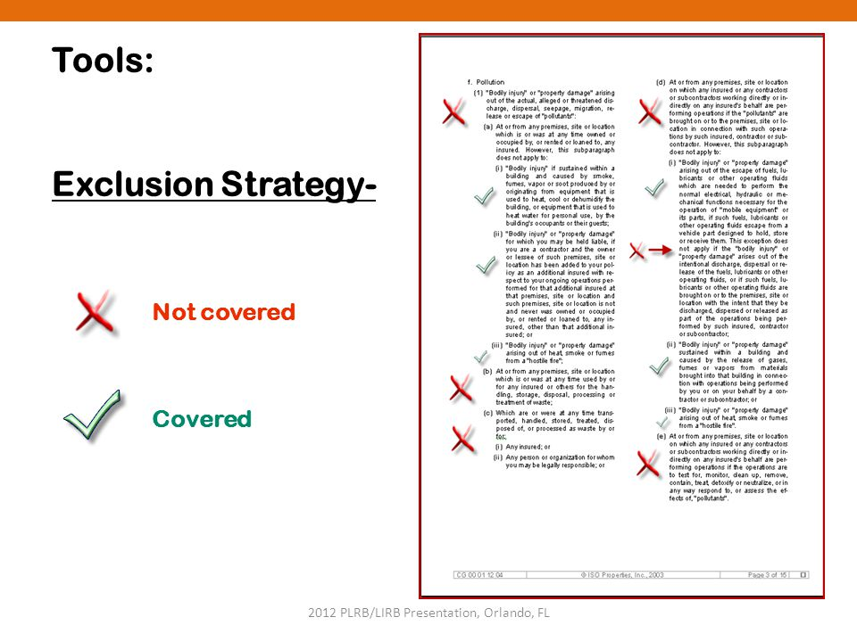 2012 PLRB/LIRB Presentation, Orlando, FL Tools: Exclusion Strategy- Not covered Covered