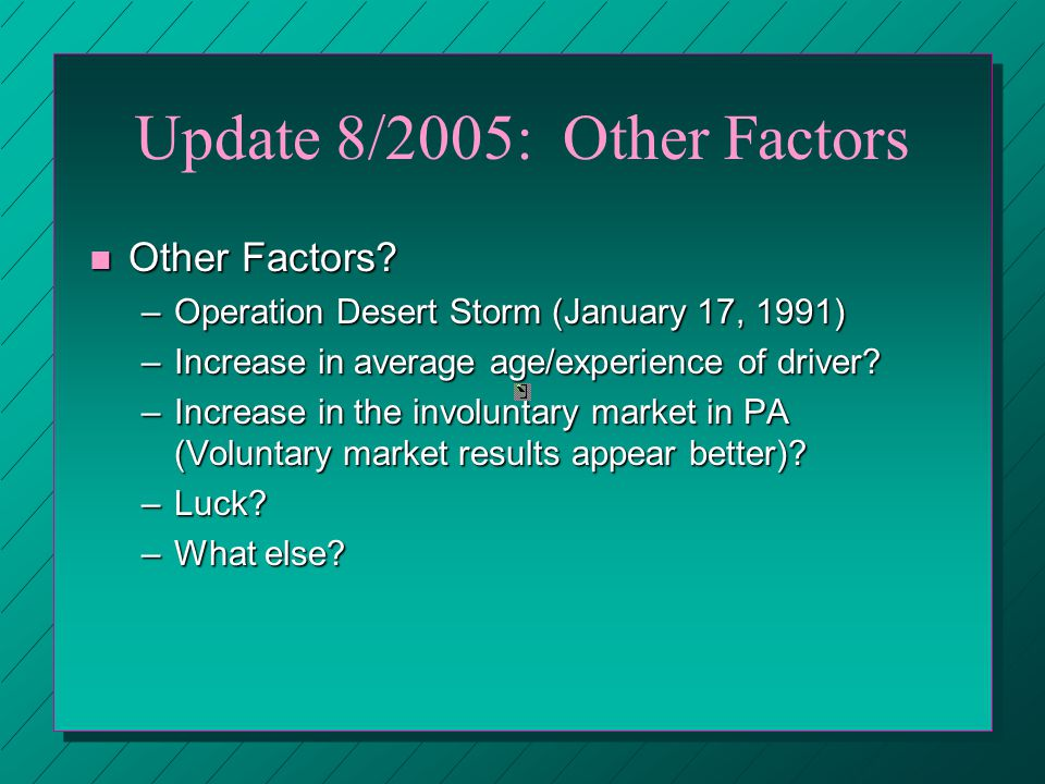 Update 8/2005: Other Factors n Other Factors.