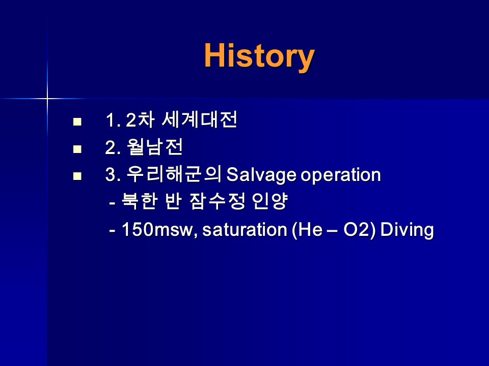 1. 2 1. 2 2. 2. 3. Salvage operation 3. Salvage operation - - - 150msw, saturation (He – O2) Diving - 150msw, saturation (He – O2) Diving History