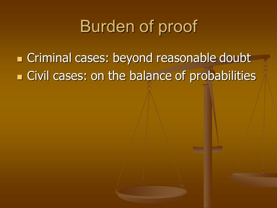 Burden of proof: criminal case The prosecution must make the court sure that the defendant is guilty.