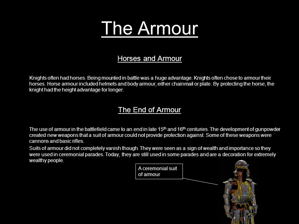 The Armour The Sabatons protects the feet Greaves protects calf and ankles Poleyns protects kneecap Cuisses protects thigh Besagews are small shields protecting armpits The rerebrace or upper cannon protects upper arm The vambrace or lower cannon protects lower arm The gauntlet protects hands The breast plate protects chest The backplate protects back Faulds protect hips, abdomen and lower back.