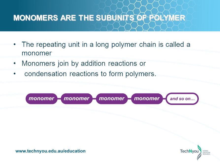 MONOMERS ARE THE SUBUNITS OF POLYMER The repeating unit in a long polymer chain is called a monomer Monomers join by addition reactions or condensation reactions to form polymers.