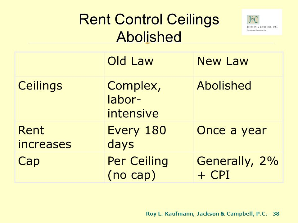 Roy L. Kaufmann, Jackson & Campbell, P.C. - 38 Rent Control Ceilings Abolished Old LawNew Law CeilingsComplex, labor- intensive Abolished Rent increas