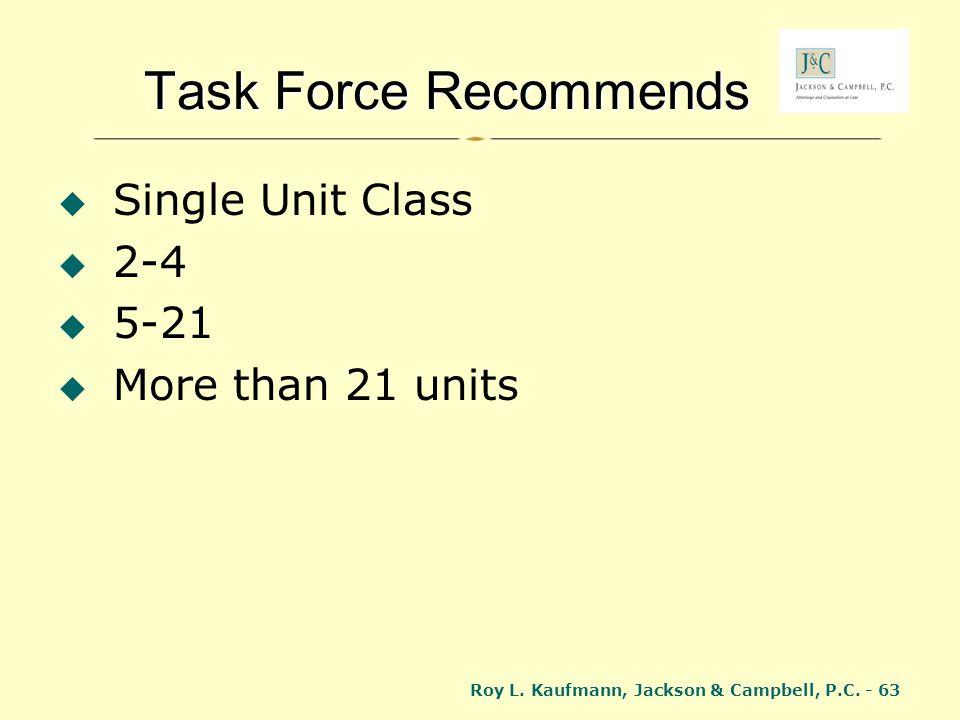 Roy L. Kaufmann, Jackson & Campbell, P.C. - 63 Task Force Recommends Single Unit Class 2-4 5-21 More than 21 units
