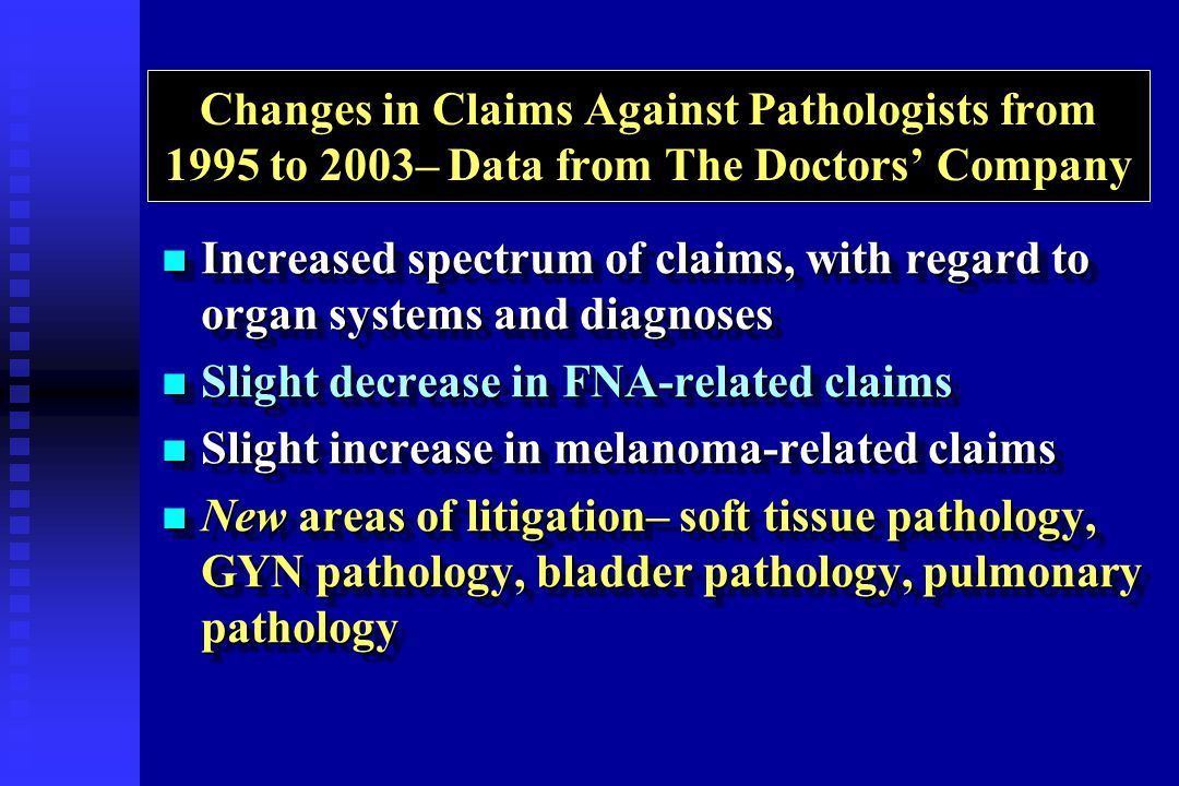 Changes in Claims Against Pathologists from 1995 to 2003– Data from The Doctors Company Increased spectrum of claims, with regard to organ systems and