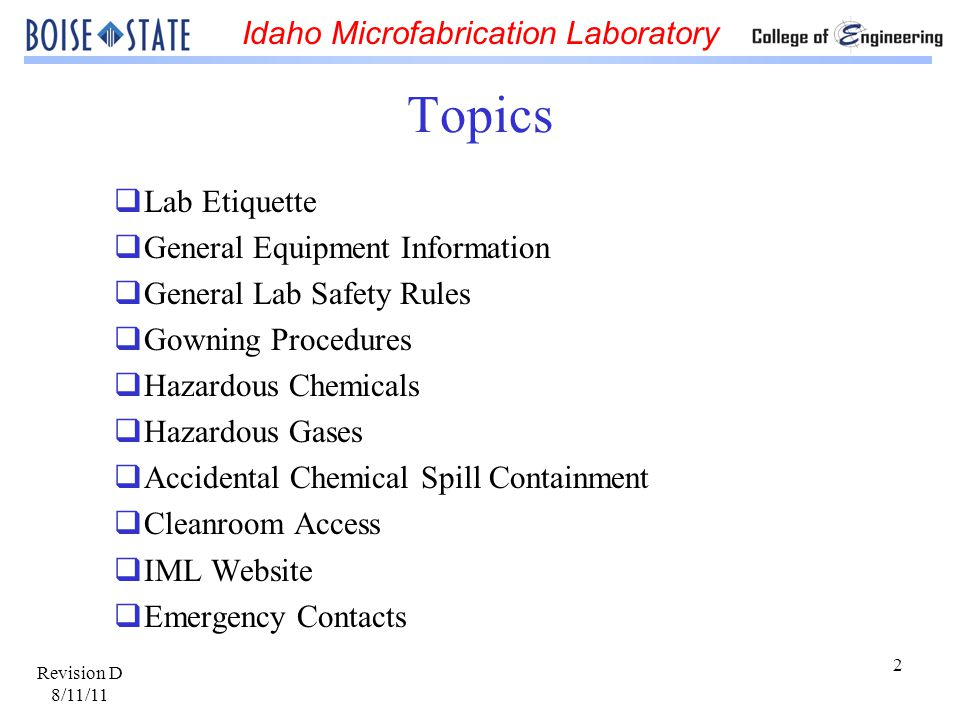 Idaho Microfabrication Laboratory Revision D 8/11/11 23 Cleanroom Hazardous Chemicals Solvents A solvent is a chemical substance which dissolves another substance.