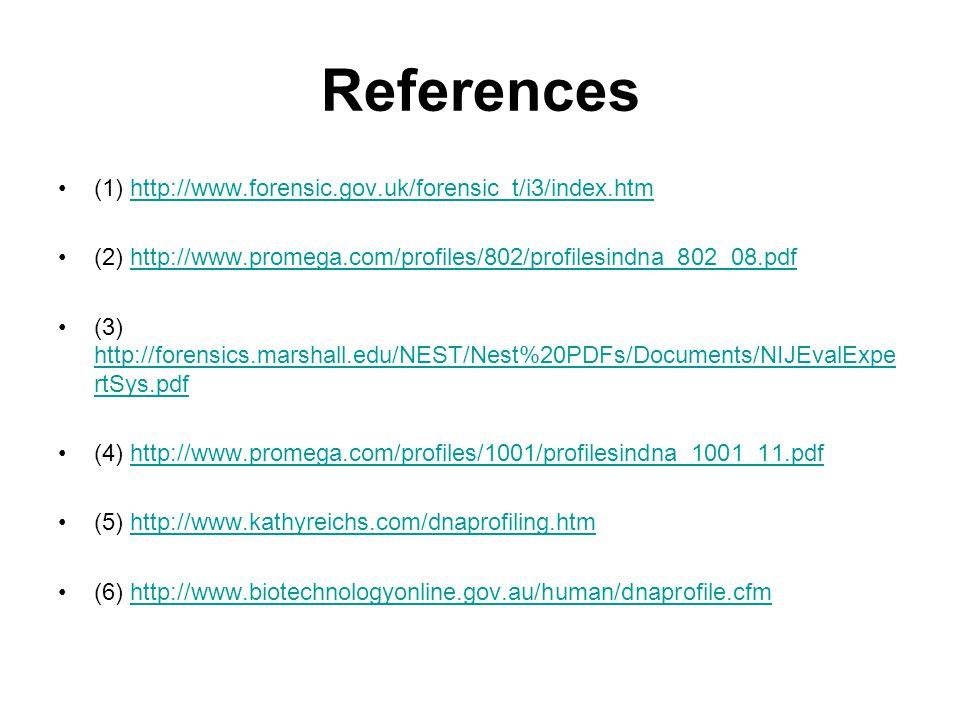 References (1) http://www.forensic.gov.uk/forensic_t/i3/index.htmhttp://www.forensic.gov.uk/forensic_t/i3/index.htm (2) http://www.promega.com/profiles/802/profilesindna_802_08.pdfhttp://www.promega.com/profiles/802/profilesindna_802_08.pdf (3) http://forensics.marshall.edu/NEST/Nest%20PDFs/Documents/NIJEvalExpe rtSys.pdf http://forensics.marshall.edu/NEST/Nest%20PDFs/Documents/NIJEvalExpe rtSys.pdf (4) http://www.promega.com/profiles/1001/profilesindna_1001_11.pdfhttp://www.promega.com/profiles/1001/profilesindna_1001_11.pdf (5) http://www.kathyreichs.com/dnaprofiling.htmhttp://www.kathyreichs.com/dnaprofiling.htm (6) http://www.biotechnologyonline.gov.au/human/dnaprofile.cfmhttp://www.biotechnologyonline.gov.au/human/dnaprofile.cfm