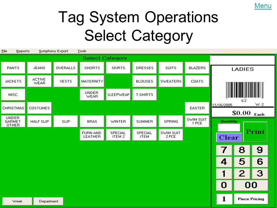 6/11/2014 Tag System Operations Select Category [1 st ] Select the category [JACKETS] Menu