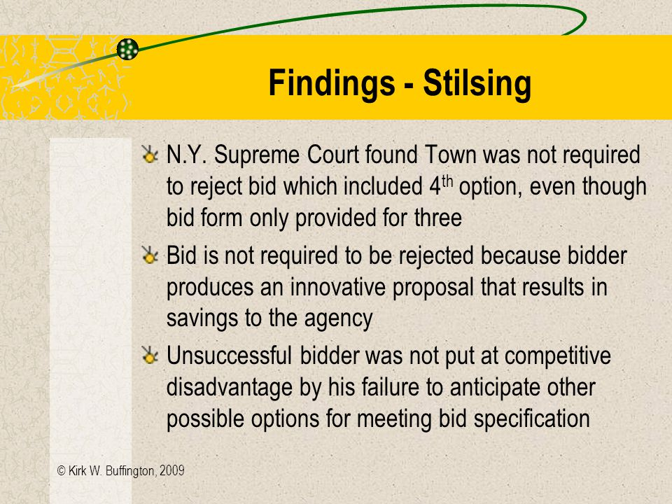 © Kirk W. Buffington, 2009 Stilsing Electric v. Town of Colonie (96 A.D.