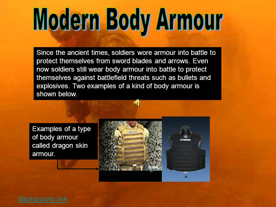 What are the designs for modern body armour suits .