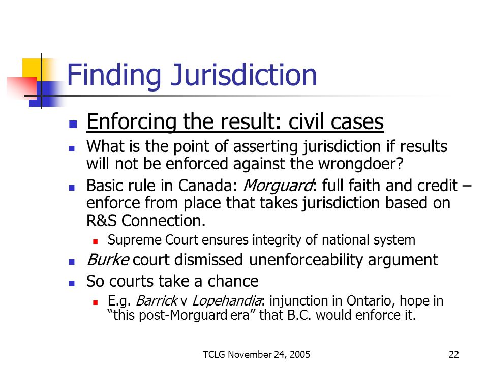 TCLG November 24, 200522 Finding Jurisdiction Enforcing the result: civil cases What is the point of asserting jurisdiction if results will not be enforced against the wrongdoer.