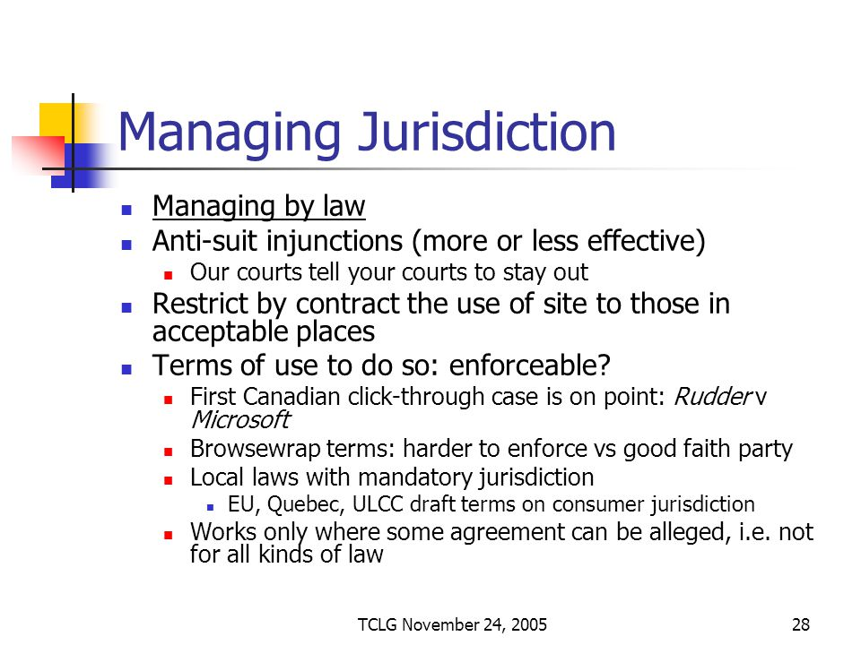TCLG November 24, 200528 Managing Jurisdiction Managing by law Anti-suit injunctions (more or less effective) Our courts tell your courts to stay out Restrict by contract the use of site to those in acceptable places Terms of use to do so: enforceable.