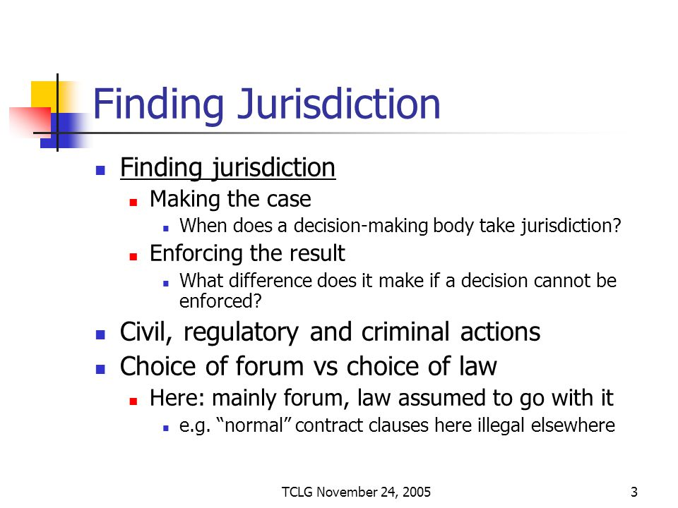 TCLG November 24, 20053 Finding Jurisdiction Finding jurisdiction Making the case When does a decision-making body take jurisdiction.