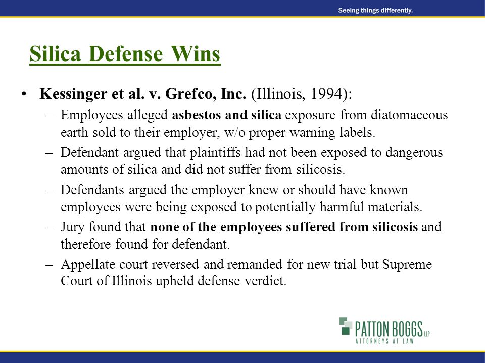 Silica Defense Wins Kessinger et al. v. Grefco, Inc.