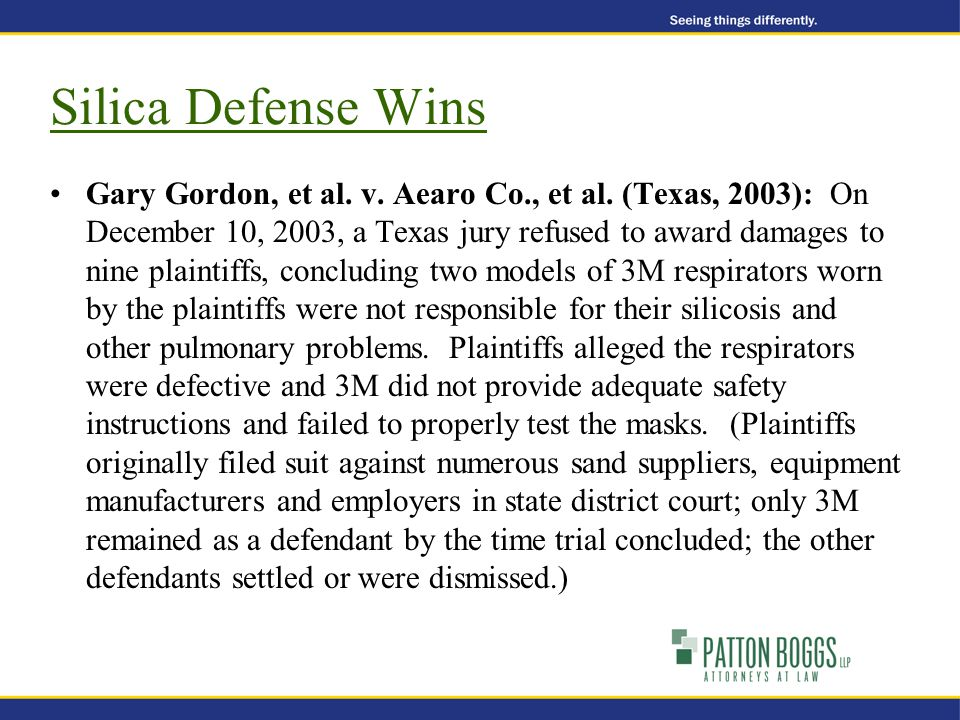 Silica Defense Wins Gary Gordon, et al. v. Aearo Co., et al.