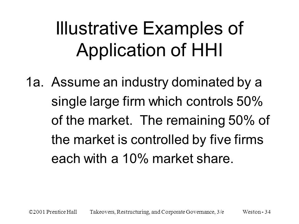 ©2001 Prentice Hall Takeovers, Restructuring, and Corporate Governance, 3/e Weston - 34 Illustrative Examples of Application of HHI 1a. Assume an indu