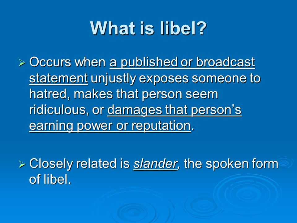 Is libel different for famous people.