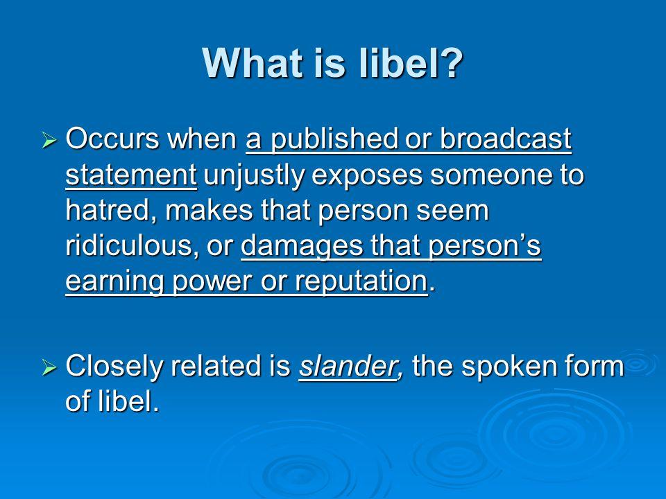 Unprotected Speech: Libel