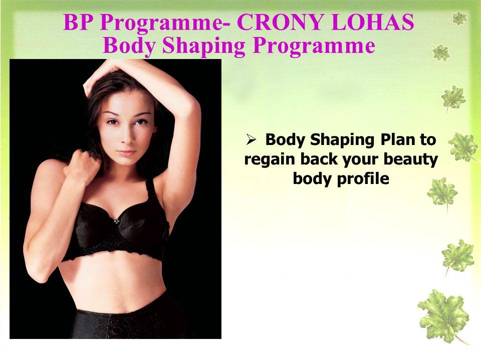 BP Programme- CRONY LOHAS Body Shaping Programme Body Shaping Plan to regain back your beauty body profile