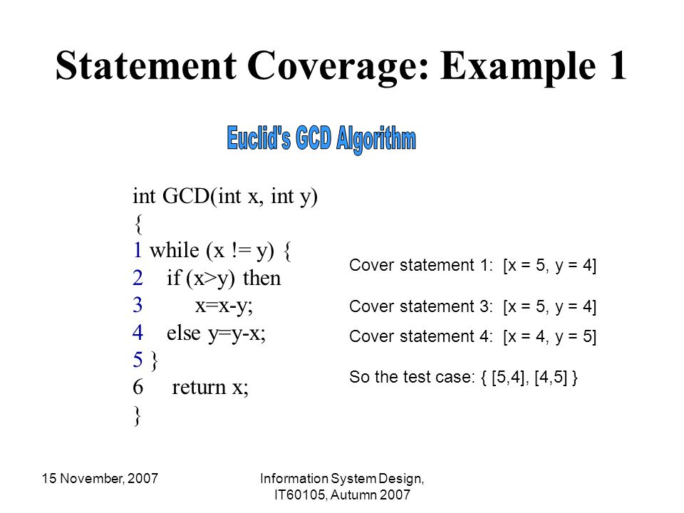 15 November, 2007Information System Design, IT60105, Autumn 2007 Statement Coverage: Example 1 int GCD(int x, int y) { 1 while (x != y) { 2 if (x>y) t