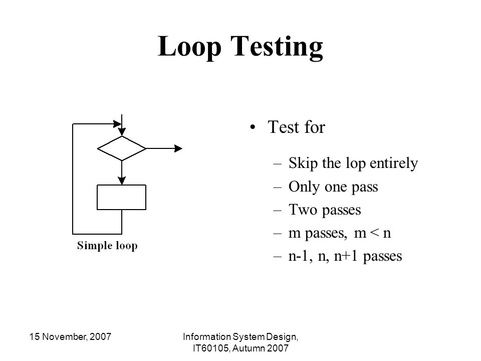 15 November, 2007Information System Design, IT60105, Autumn 2007 Loop Testing Test for –Skip the lop entirely –Only one pass –Two passes –m passes, m