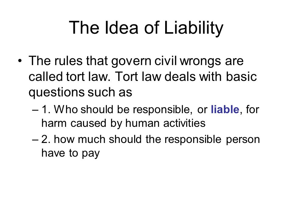 The Idea of Liability The rules that govern civil wrongs are called tort law.