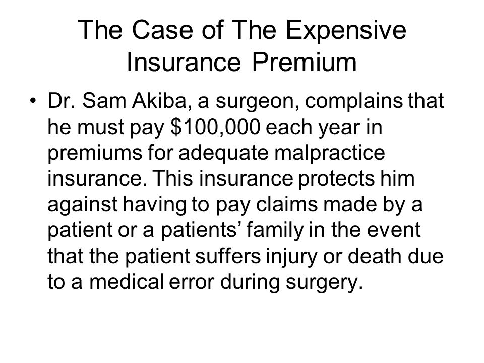 The Case of The Expensive Insurance Premium Dr.