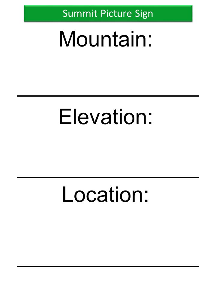 Summit Picture Sign Mountain: Elevation: Location:
