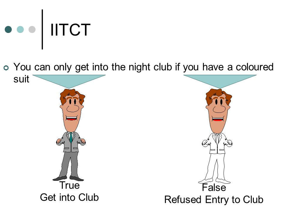 IITCT You can only get into the night club if you have a coloured suit True Get into Club False Refused Entry to Club