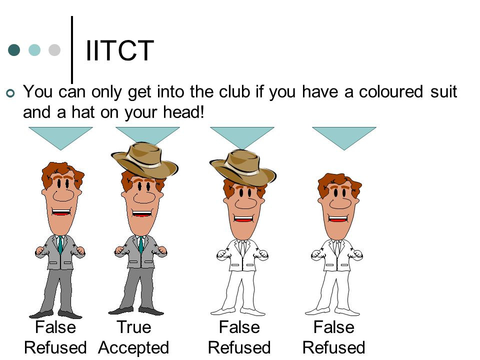 IITCT You can only get into the club if you have a coloured suit and a hat on your head.