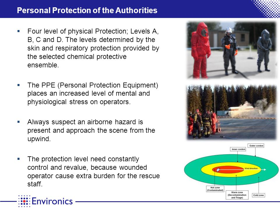 Personal Protection of the Authorities Four level of physical Protection; Levels A, B, C and D.