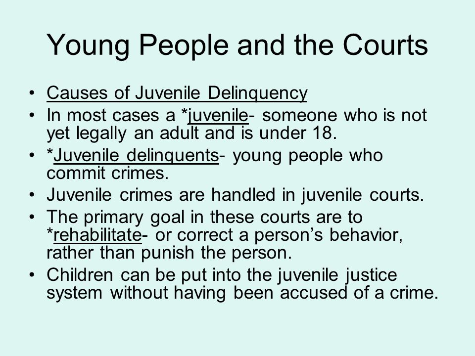 Young People and the Courts Causes of Juvenile Delinquency In most cases a *juvenile- someone who is not yet legally an adult and is under 18. *Juveni