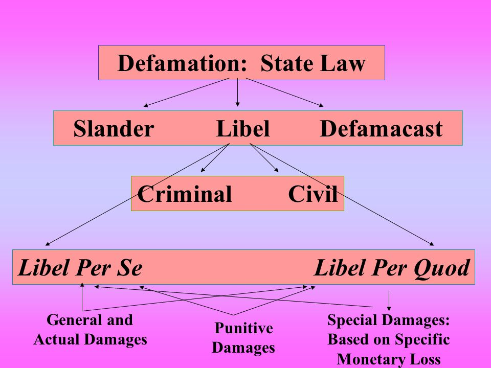 Defamation: State Law Slander Libel Defamacast Criminal Civil Libel Per Se Libel Per Quod Special Damages: Based on Specific Monetary Loss General and Actual Damages Punitive Damages