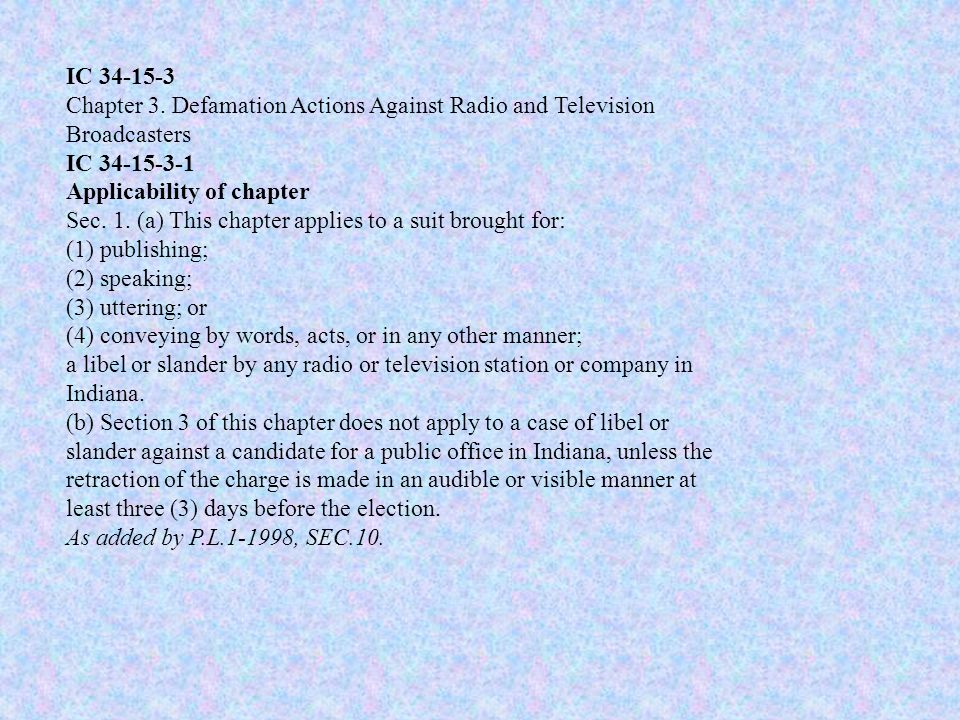 IC 34-15-3 Chapter 3.
