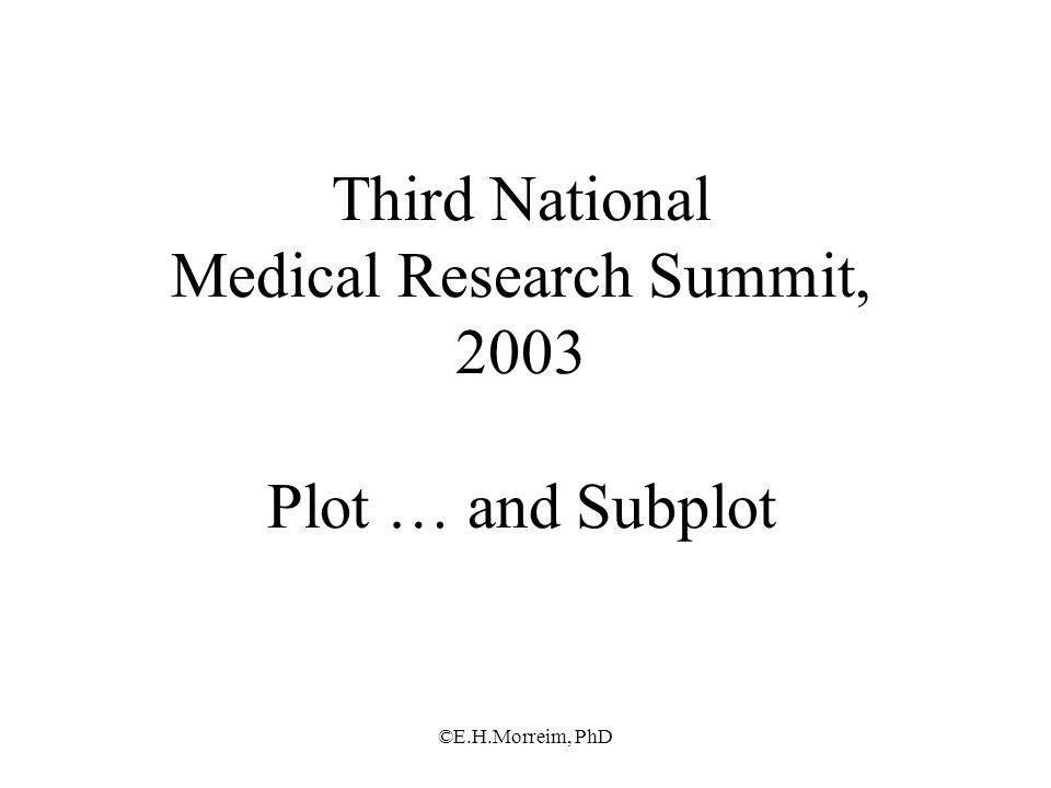 ©E.H.Morreim, PhD Third National Medical Research Summit, 2003 Plot … and Subplot