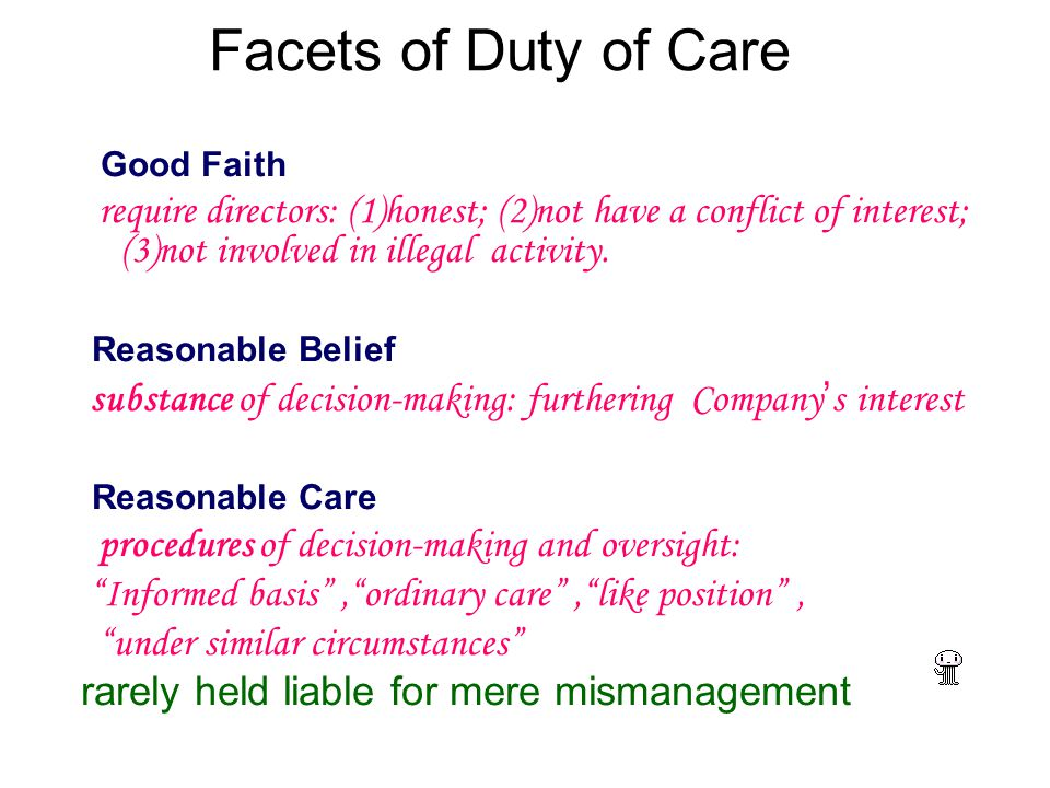 Facets of Duty of Care Good Faith require directors: (1)honest; (2)not have a conflict of interest; (3)not involved in illegal activity.