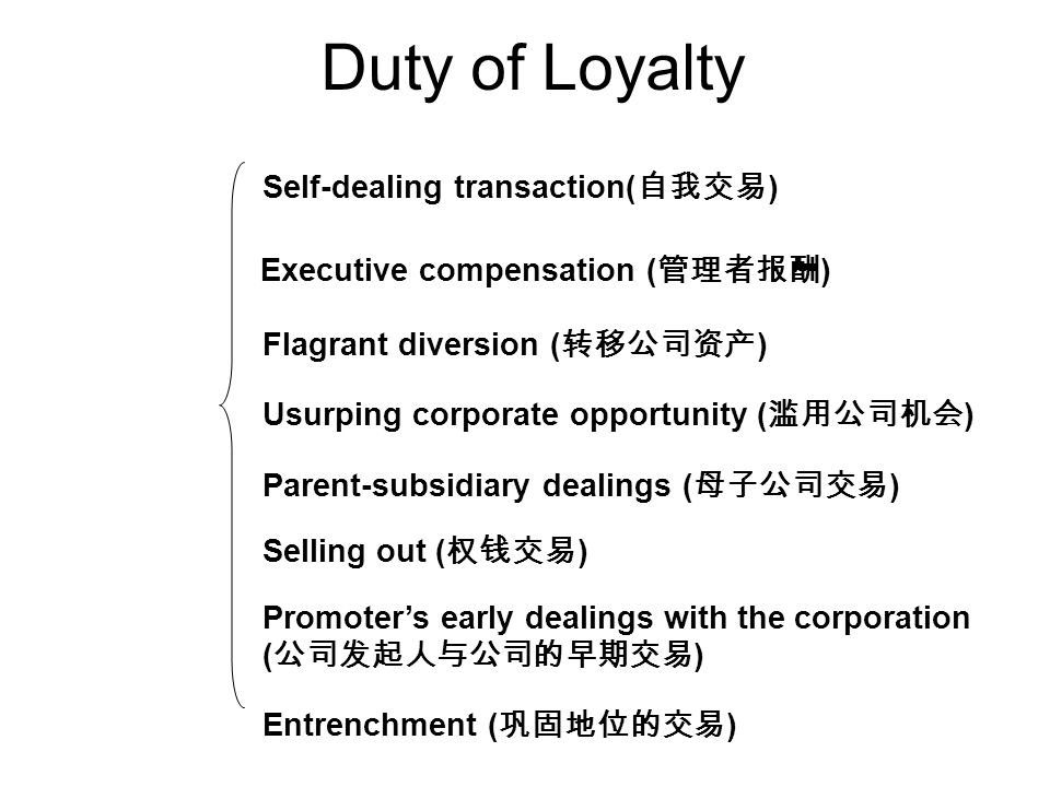 Entrenchment ( ) Self-dealing transaction( ) Executive compensation ( ) Flagrant diversion ( ) Usurping corporate opportunity ( ) Parent-subsidiary dealings ( ) Selling out ( ) Promoters early dealings with the corporation ( ) Duty of Loyalty