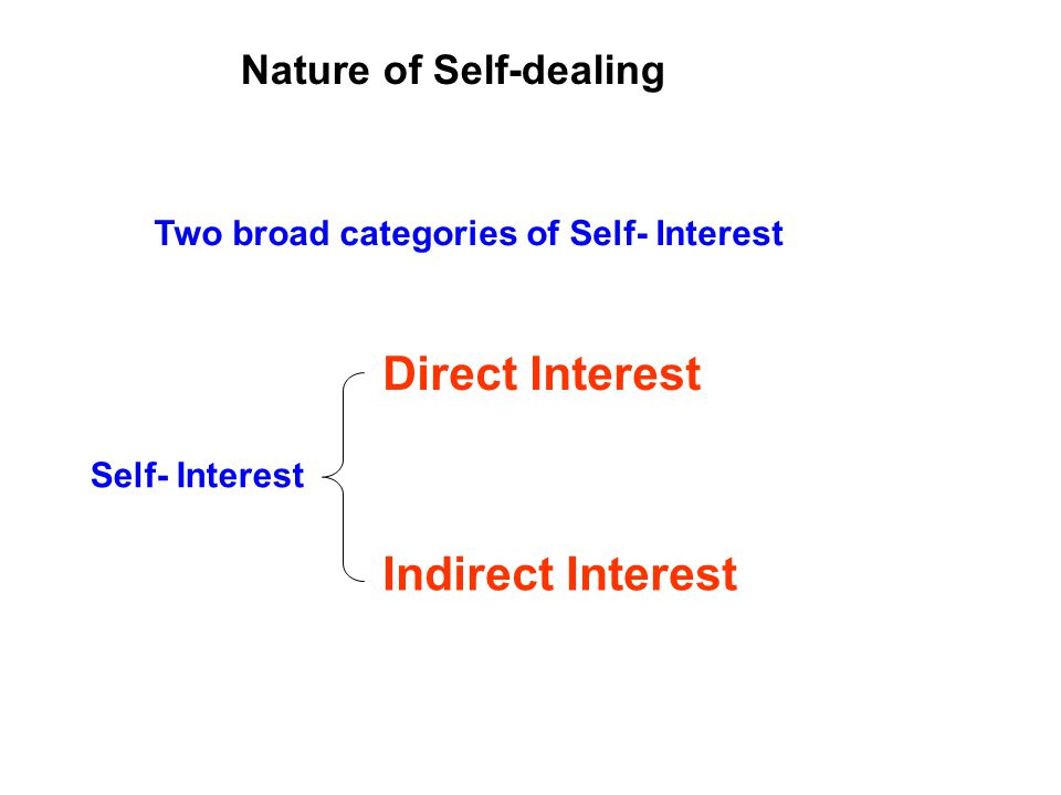 Two broad categories of Self- Interest Nature of Self-dealing Direct Interest Self- Interest Indirect Interest