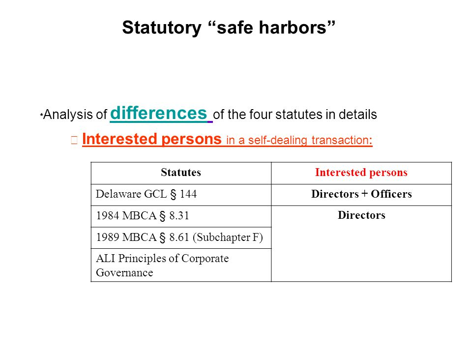 Statutory safe harbors Analysis of differences of the four statutes in details Interested persons in a self-dealing transaction: StatutesInterested persons Delaware GCL § 144Directors + Officers 1984 MBCA § 8.31Directors 1989 MBCA § 8.61 (Subchapter F) ALI Principles of Corporate Governance