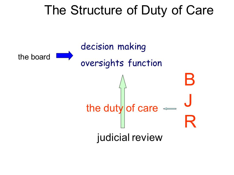 The Structure of Duty of Care the board decision making oversights function judicial review the duty of care B J R