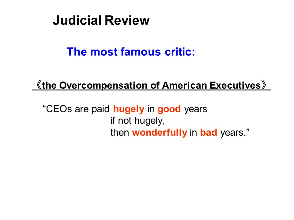 the Overcompensation of American Executives CEOs are paid hugely in good years if not hugely, then wonderfully in bad years.