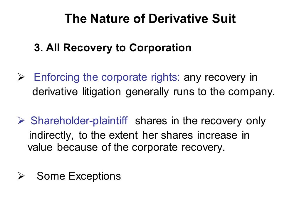The Nature of Derivative Suit 3.