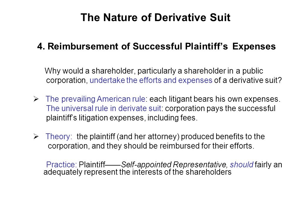 The Nature of Derivative Suit 4.