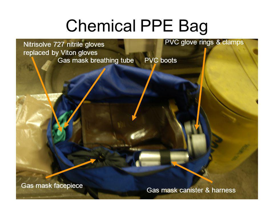 Chemical PPE Bag Nitrisolve 727 nitrile gloves replaced by Viton gloves PVC glove rings & clamps Gas mask breathing tube Gas mask facepiece PVC boots