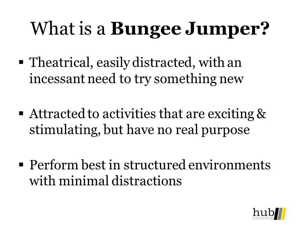What is a Bungee Jumper? Theatrical, easily distracted, with an incessant need to try something new Attracted to activities that are exciting & stimul