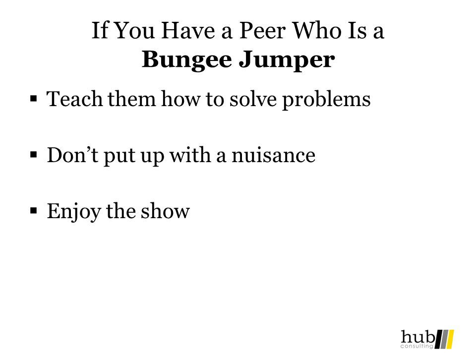 If You Have a Peer Who Is a Bungee Jumper Teach them how to solve problems Dont put up with a nuisance Enjoy the show