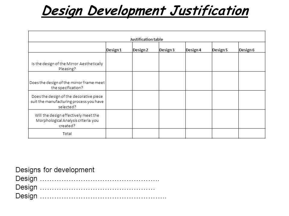 Design Development Justification Designs for development Design …………………………………………..
