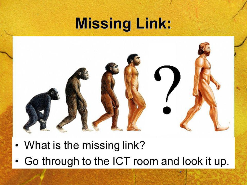 Missing Link: What is the missing link Go through to the ICT room and look it up.